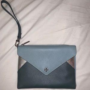 Tory Burch blue wristlet wallet